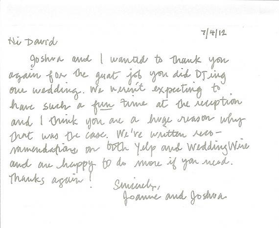 thank you letter NYC DJ