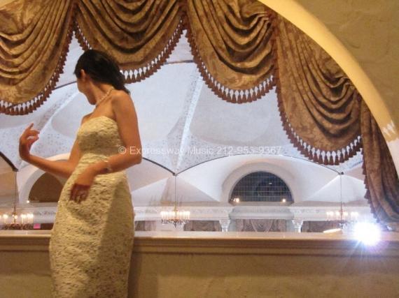 Bride Bouquet Toss from Balcony