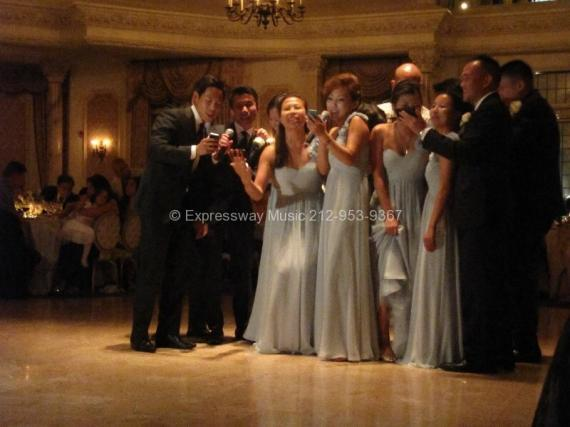 Wedding guests singing Karaoke