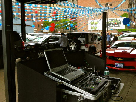 DJ Set up at Memorial day event Jeep Fiat NYC