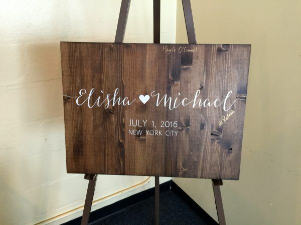 wedding sign in board