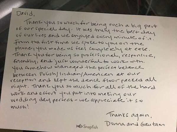 Thank you letter to DJ Dave
