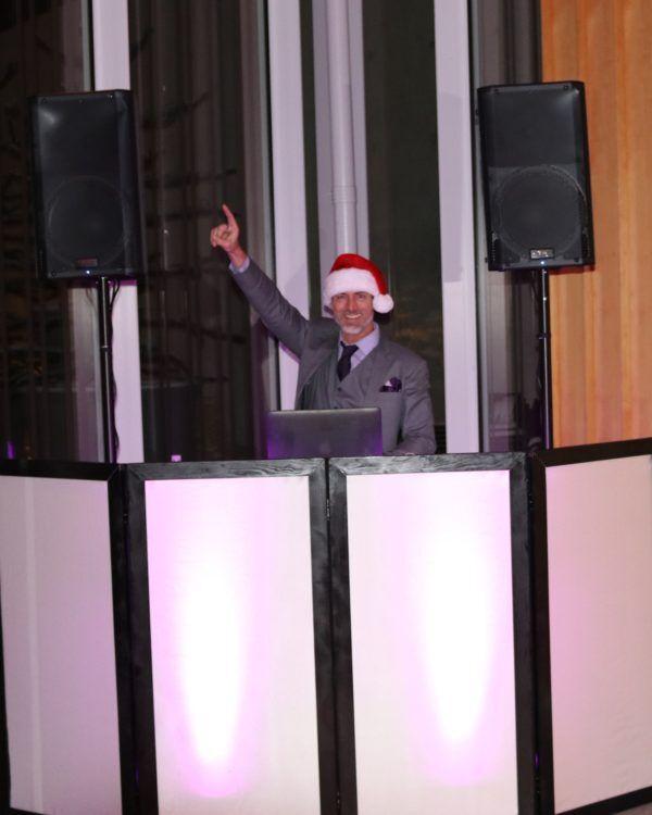 DJ Santa doing his best saturday night fever move