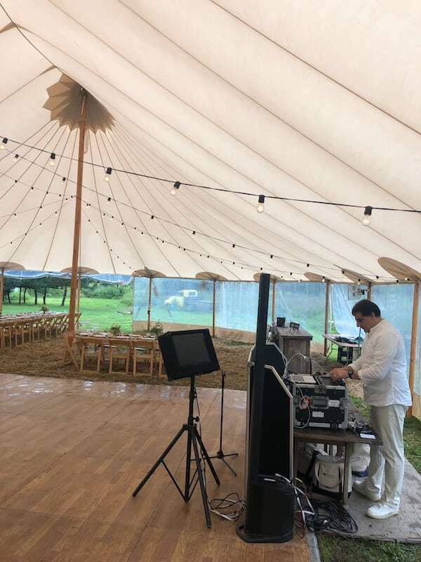 DJ Dave Swirsky dj and karaoke set up before reception