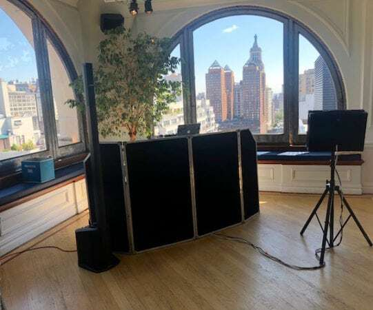 dj and karaoke set up at nyc loft