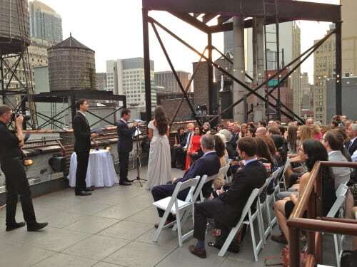 gary's loft rooftop wedding ceremony