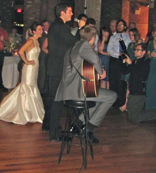 The groom is an amazing vocalist!