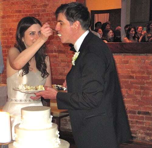 cake cutting at Thalassa in Tribeca New York City