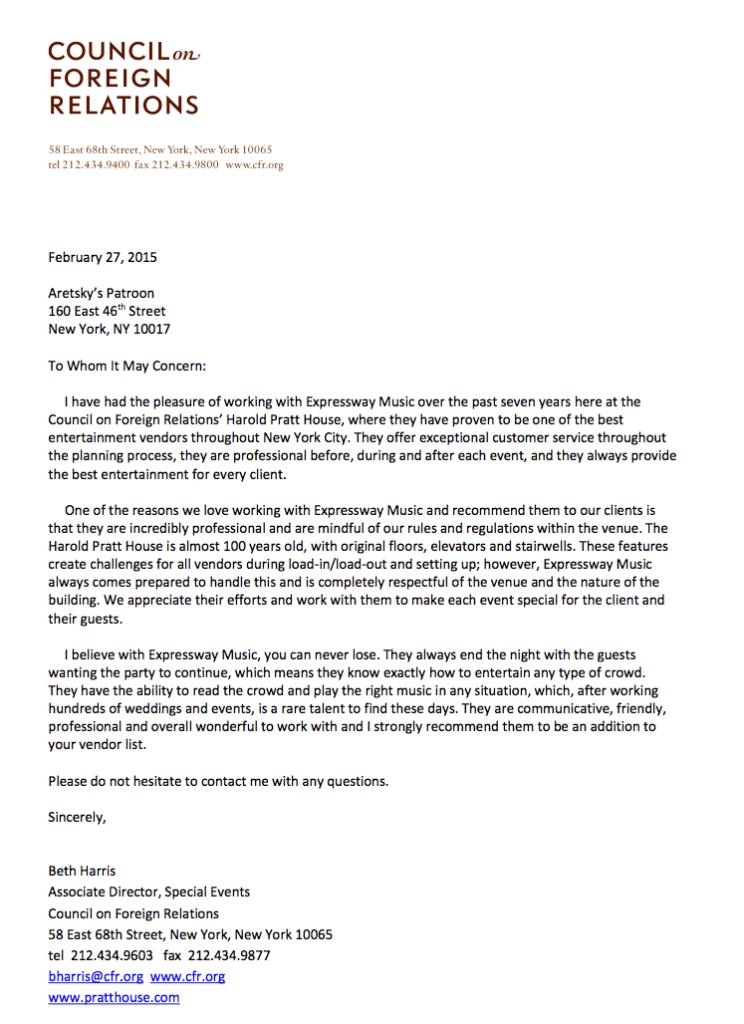 Harold Pratt reference Letter