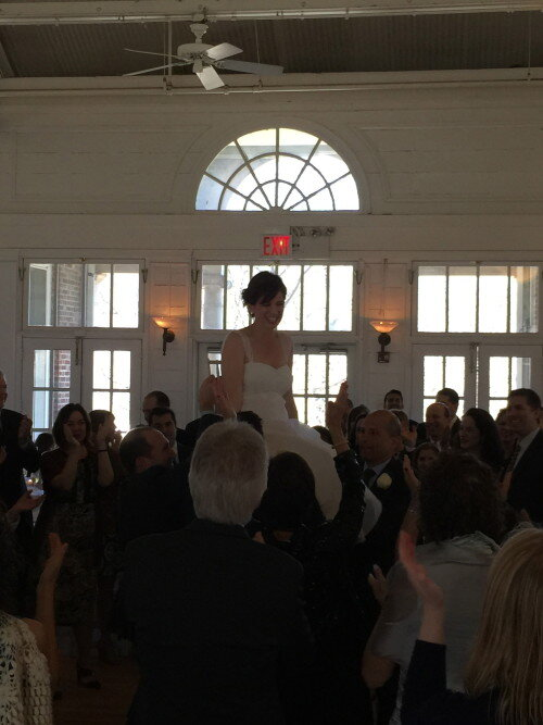 Prospect Park Picnic House Bride being lifted on Chair