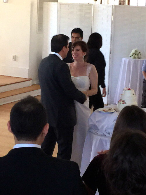 Bride and Groom after cake cutting