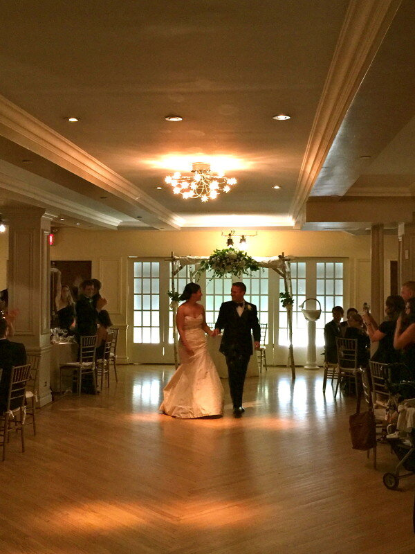Wedding couple being introduced into the room
