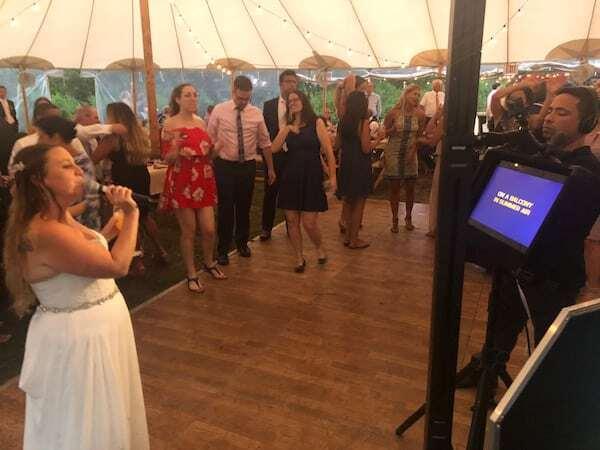 Bride Sings karaoke at her wedding