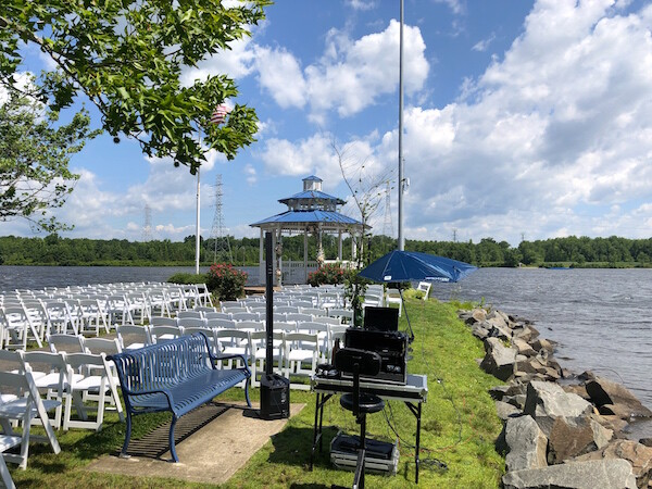 DJ Set up by Gazebo before Wedding Ceremony by Lake