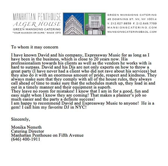 Manhattan Penthouse DJ Review letter