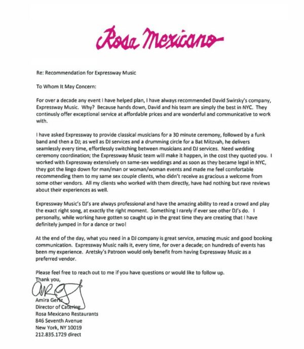 rosa mexicano letter of recommendation for dj