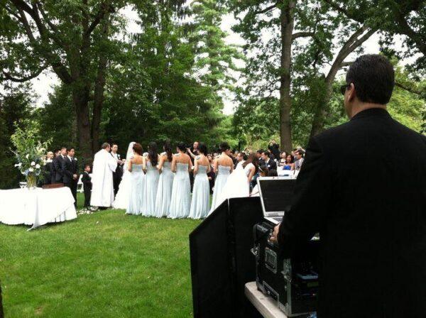 outdoor wedding ceremony with DJ